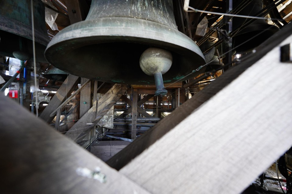 The clock on the tower also controls the chime.  Until it is put back, the bells are silent.