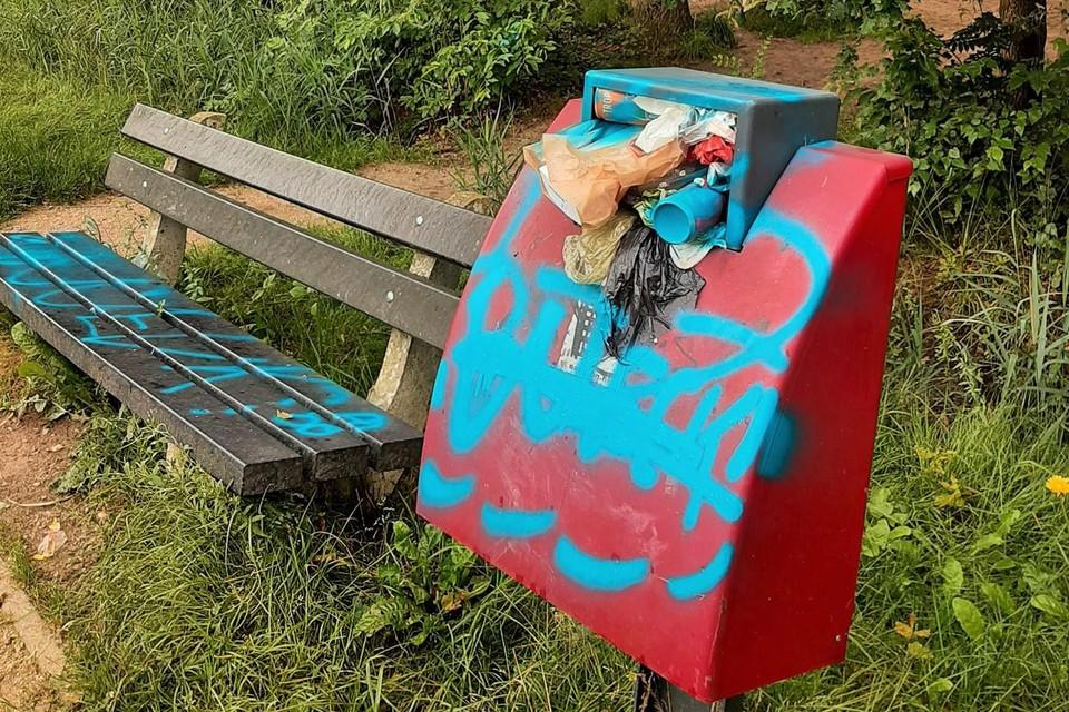 Onder andere een vuilnisbak en zitbank werden gevandaliseerd.