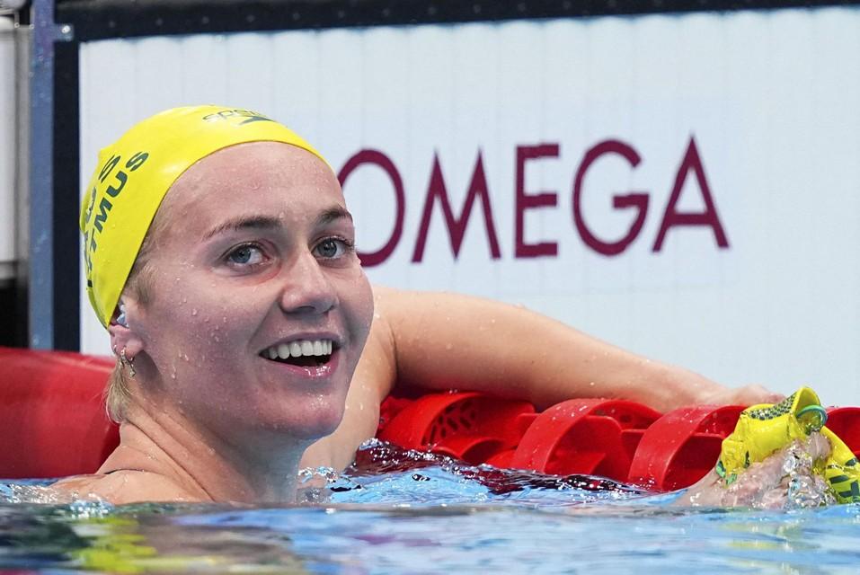 Ariarne Titmus pakte op de 200 meter vrije slag haar tweede goud. Daar zou een mens al eens van gaan lachen.